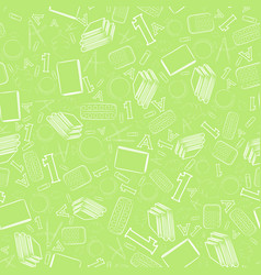 seamless pattern with outlined white school items vector image