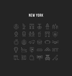 Set flat line icons new york vector