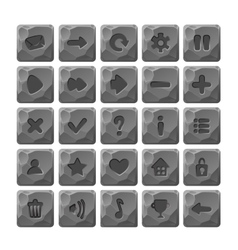 Set of Cartoon stone buttons with web icons vector image