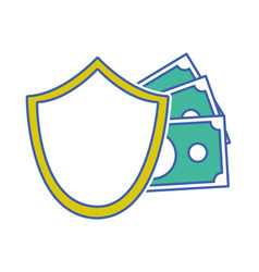 shield security with bills cash money vector image