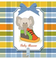 Shower card with an elephant hidden in a shoe vector