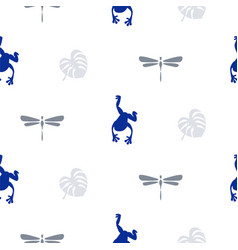 silhouette of frog and dragonfly seamless pattern vector image