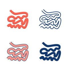 small intestine icon set in flat and line style vector image