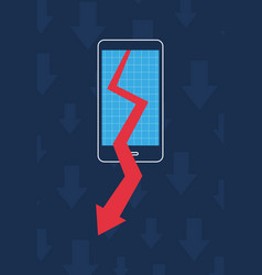smartphone graph arrow decrease business vector image
