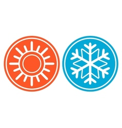 Snowflake with sun - season specific icon vector