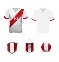 soccer jersey or football kit template for peru vector image