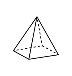 Square pyramid projection straight and dashed line vector