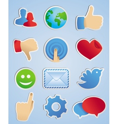 Stickers with social media icons in scrapbooking s vector