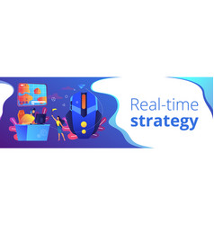 Strategy online games concept banner header vector
