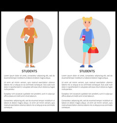 Students college pupils with sheet paper and bags vector