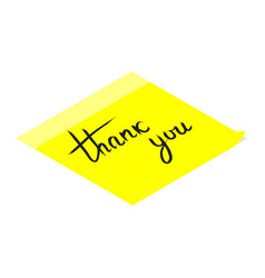 thank you handwritten inscription on yellow vector image