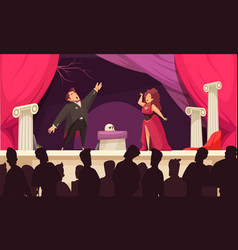 Theater opera flat scene vector