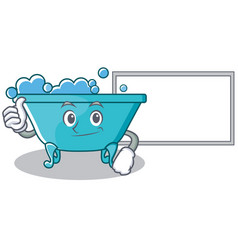 thumbs up with board bathtub character cartoon vector image