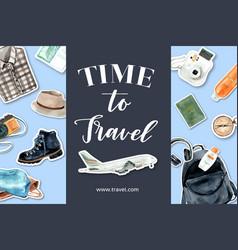 Tourism frame design with plane camera backpack vector