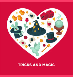 tricks and magic heart poster vector image