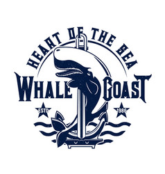 tshirt print with whale and anchor on sea waves vector image