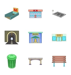 Urban infrastructure icons set cartoon style vector image