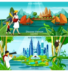 Vietnam and malaysia travel compositions vector