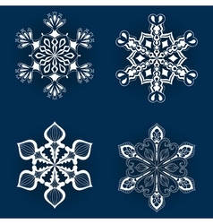 Vintage snowflake set in zentangle style White vector