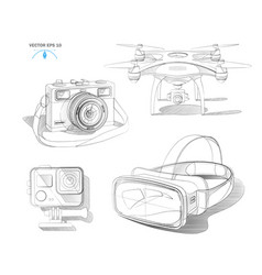 Virtual reality headset air quad drone vector