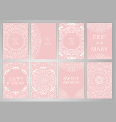 Wedding set postcards backgrounds invitations in vector