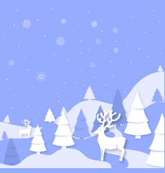 winter landscape mountains spruce deer cut out of vector image