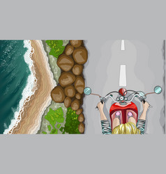 Woman on bike in the seaside environment top view vector