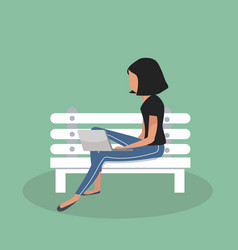 woman sitting bench with notebook vector image