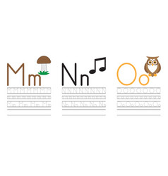 Writing practice letters mno education for kids vector