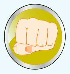 fist of the person on button vector image
