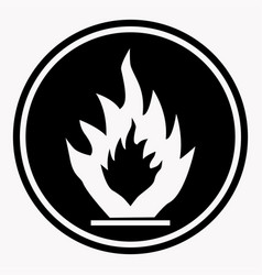 flammable caution sign fire isolated danger vector image