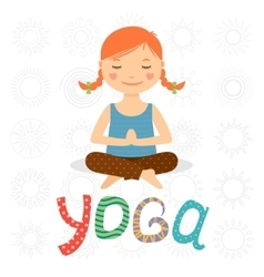 Little girl doing yoga vector image