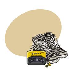 retro style attributes - zebra sneakers sport vector image vector image