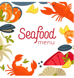 seafood menu cover with exotic food as frame vector image
