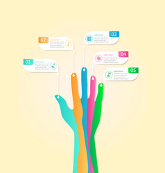 abstract infographic business steps with hand vector image vector image