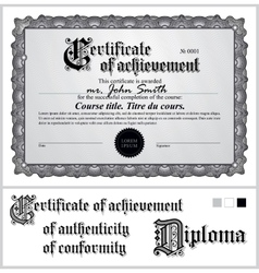Black and white certificate Template Horizontal vector image vector image