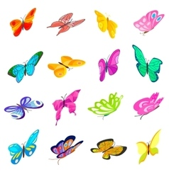 Butterfly set icons vector image