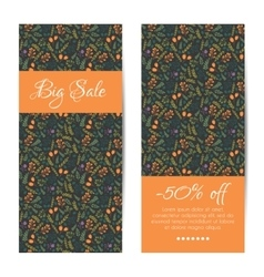 discount sale banners with floral pattern vector image vector image