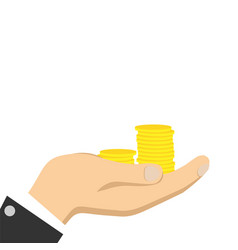 gold coin in hand businessman vector image