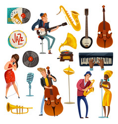 jazz music cartoon set vector image vector image