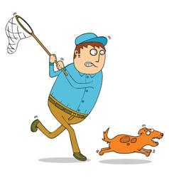 Man chasing dog vector image