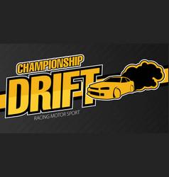 race car drifting flat banner vector image vector image