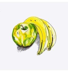 sketch apple and banana vector image