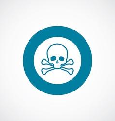 skull icon bold blue circle border vector image