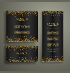 three dark banners with glitter or sparkles vector image vector image