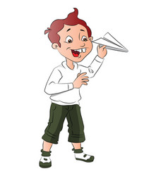 Boy playing with paper rocket vector