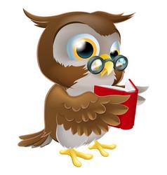 cartoon owl reading a book vector image vector image
