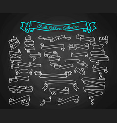chalk ribbons ollection hand draw on black board vector image