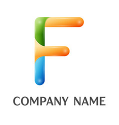f letter colorful logo vector image
