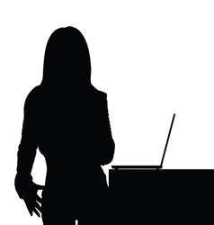 girl beauty front of laptop silhouette vector image